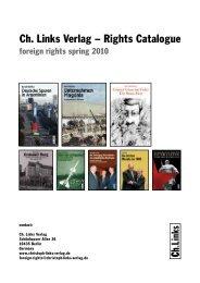 Ch. Links Verlag – Rights Catalogue