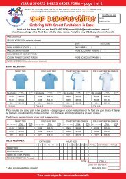 YEAR 6 SPORTS SHIRTS ORDER FORM - Smart FunRaisers