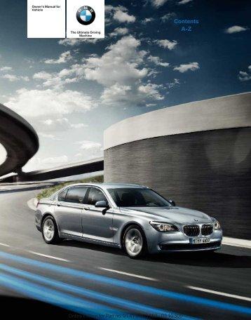 2011 ActiveHybrid 7 Series Owner's Manual - Irvine BMW