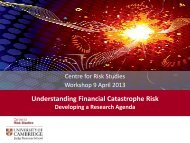 Introduction to the Workshop - Centre for Risk Studies