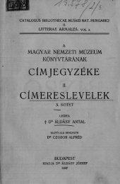 A Magyar Nemzeti Múzeum könyvtárának címeres levelei. 3. kötet ...
