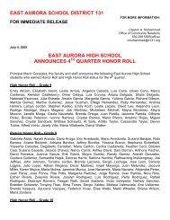 quarter honor roll - East Aurora School District #131