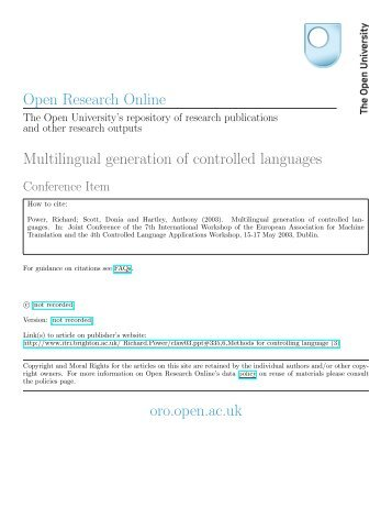 Multilingual generation of controlled languages