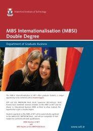 MBS Internationalisation (MBSI) - Waterford Institute of Technology