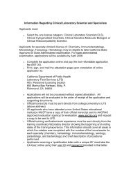 Clinical Laboratory Scientist Information - California Department of ...