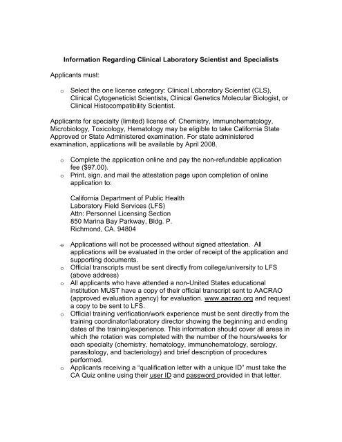 Clinical Laboratory Scientist Information California