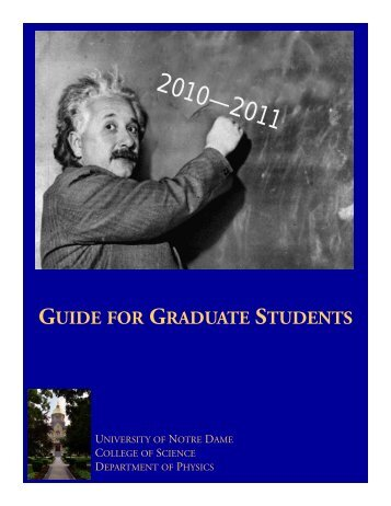 guide for graduate students - Physics Department - University of ...