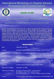 International Workshop on Organic Aerosol ... - Academia Sinica