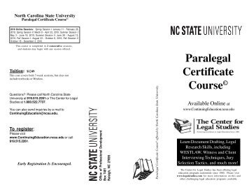 Paralegal Certificate Course - North Carolina State University