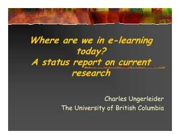 Where are we in e-learning today? A status report on ... - Cckm.ca