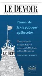 Témoin de la vie politique québécoise - Le Devoir