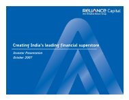 Creating India's leading financial superstore - Reliance Capital