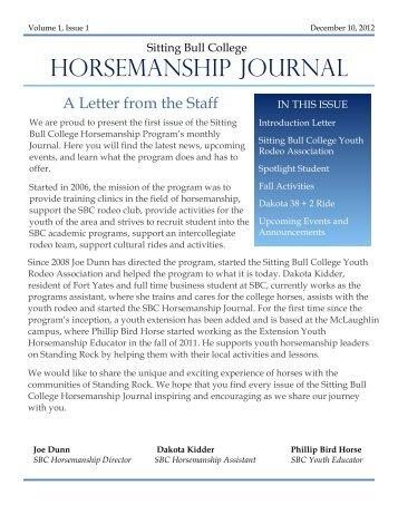 Horsemanship Journal December 2012 - Sitting Bull College