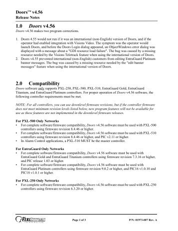 1.0 Doors v4.56 2.0 Compatibility - Keri Systems