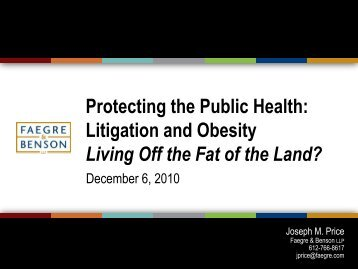 OBESITY LITIGATION: Plaintiffs Lawyers Living Off the Fat of the Land