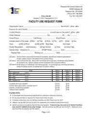 FACILITY USE REQUEST FORM - Pleasant Hill School District #1