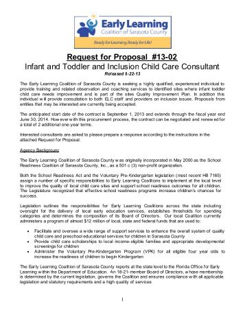 Request for Proposal #13-02 Infant and Toddler and Inclusion Child ...