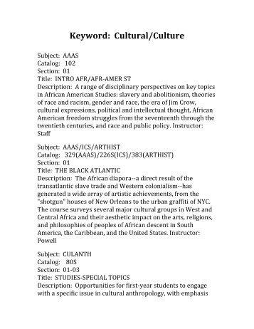 Keyword: Cultural/Culture - Duke University Student Affairs
