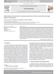 Knowledge and networks: An experimental test of how network ...