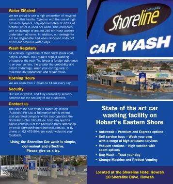State of the art car washing facility on Hobart's ... - Shoreline Hotel