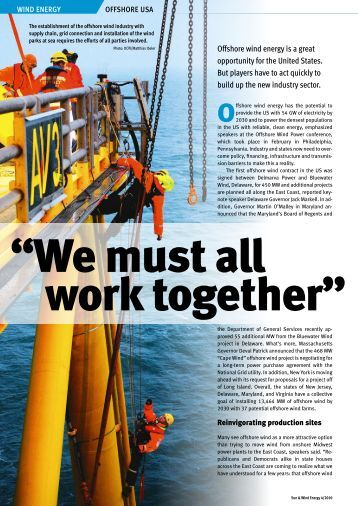 "Offshore Wind USA: ""We Must All Work Together - Energy Smith"