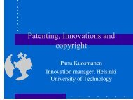 Patenting, Innovations and copyright