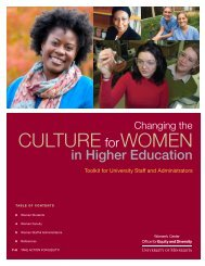CULTURE forWOMEN - Office for Equity and Diversity - University of ...