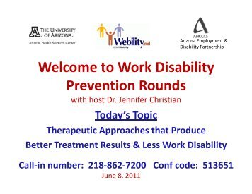 WDP Rounds June 8 Therapeutic Approaches 2011-06 ... - Webility!