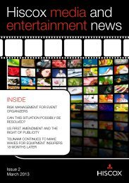hiscox media and entertainment news