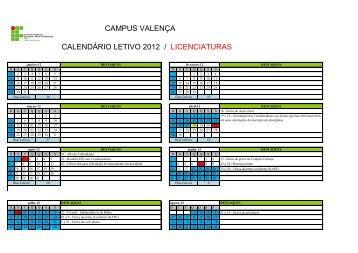 CAMPUS VALENÇA CALENDÁRIO LETIVO 2012 / LICENCIATURAS