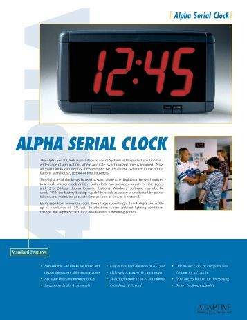 Alpha Serial Clock brochure