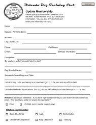 Membership Update Form - Orlando Dog Training Club