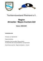Region Ahrweiler / Mayen-Cochem-Zell Saison 2000/2001 - TTVR