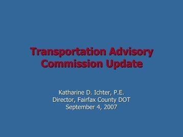 update to the Transportation Advisory Commission - Sully District ...