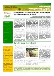Observer les circuits courts pour accompagner ... - INRA Montpellier