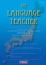 THE JAPAN ASSOCIATION FOR LANGUAGE ... - JALT Publications