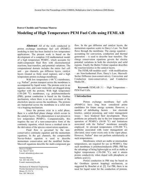 Modeling of High Temperature PEM Fuel Cells using ... - Comsol