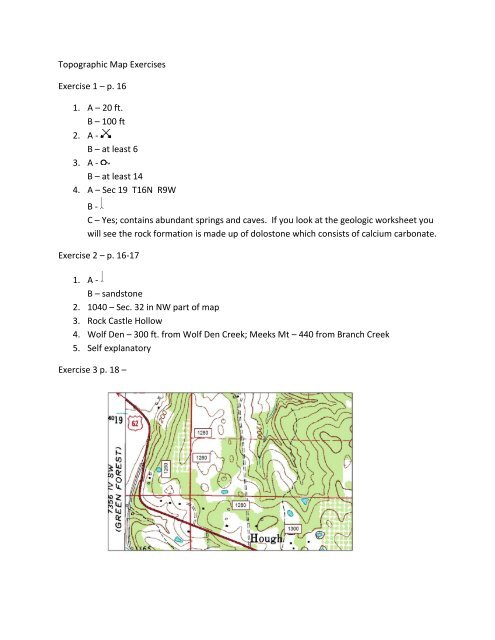 Answers to topographic map exercises - Arkansas Geological ...
