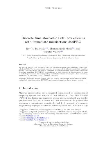Discrete time stochastic Petri box calculus with immediate ...