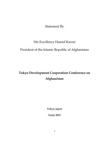 Statement By His Excellency Hamid Karzai President of the Islamic ...