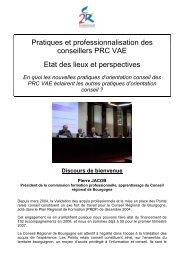 Pratiques et professionnalisation des conseillers PRC VAE ... - Inffolor