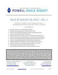 ISSUE OF AUGUST 20, 2012 – VOL. 1 - Powell Shale Digest