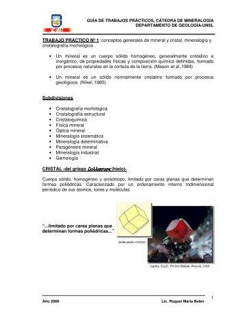 1 TRABAJO PRÁCTICO Nº 1: conceptos generales de mineral y ...