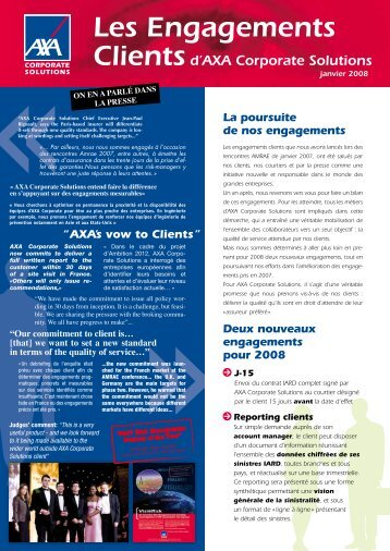 Les Engagements Clientsd'AXA Corporate Solutions