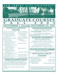 G R A D U A T E   C O U R S E S - New Jersey City University