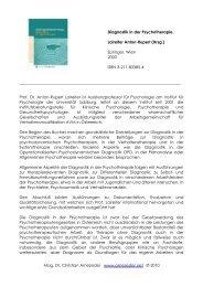 Diagnostik in der Psychotherapie. - Mag. Dr. Christian Arnezeder