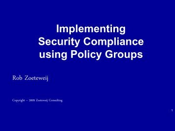 Implementing Security Compliance using Policy Groups