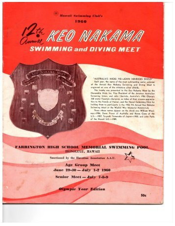 1960 Keo Nakama Invitational - Hawaii Swimming