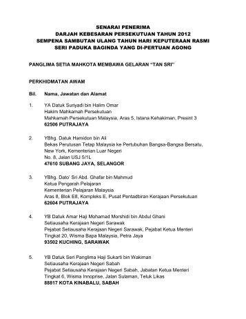 senarai penerima darjah kebesaran persekutuan tahun 2012 ...
