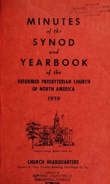 Reformed Presbyterian Minutes of Synod 1959 - Rparchives.org
